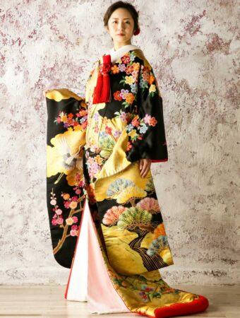 和装 JUK042 雲取花と鶴に金慶