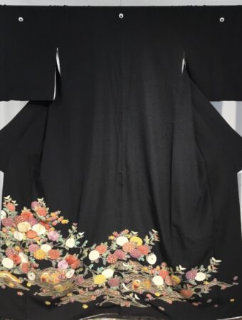 JTO118 色彩菊花におしどり(手刺繍)