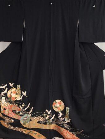 JTO143金箔花紋に鶴