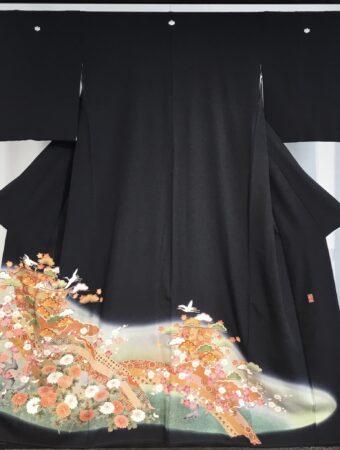 JTO207菊花に松金駒刺繍
