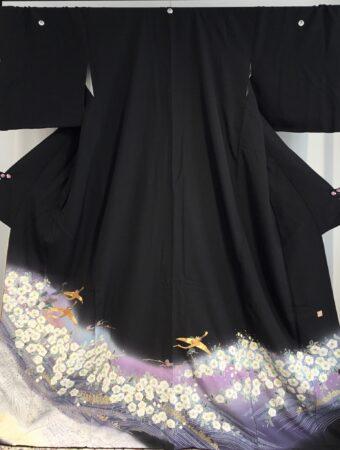 JTO146辻が花に金鶴(金駒刺繍)
